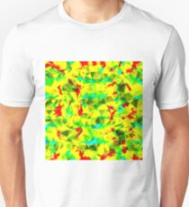 psychedelic geometric triangle abstract pattern in green yellow blue red T-Shirt