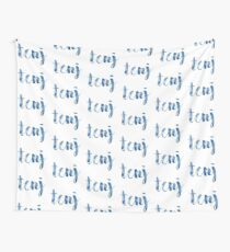 TCNJ sticker: cloudy cursive design Wall Tapestry