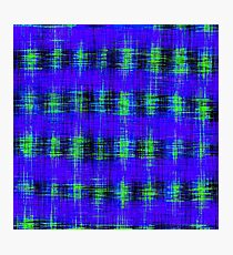 plaid pattern abstract texture in blue green black Photographic Print