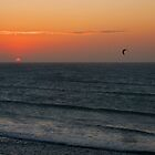 Kitesurfing at sunset  by FollowHedgehog