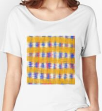 plaid pattern abstract texture in yellow blue pink Women's Relaxed Fit T-Shirt