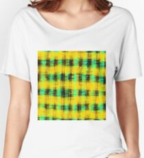 plaid pattern abstract texture in yellow green black Women's Relaxed Fit T-Shirt