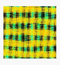 plaid pattern abstract texture in yellow green black Photographic Print