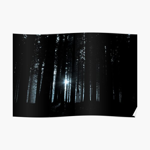 Female ghost in dark forest Poster