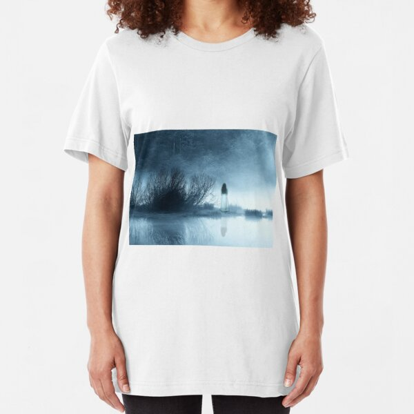 Mysterious Lady in the Misty Lake Slim Fit T-Shirt
