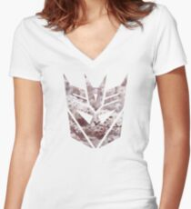 Decepticon Cherry Blossoms Women's Fitted V-Neck T-Shirt