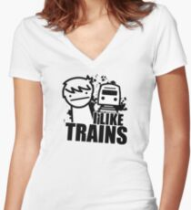ASDF T-Shirt I Like Trains  Women's Fitted V-Neck T-Shirt