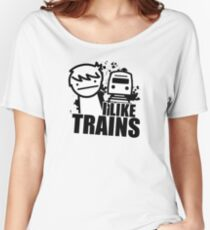 ASDF T-Shirt I Like Trains  Women's Relaxed Fit T-Shirt
