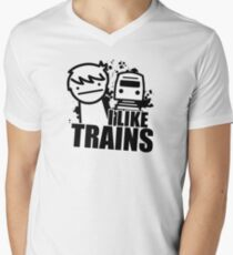 ASDF T-Shirt I Like Trains  Men's V-Neck T-Shirt