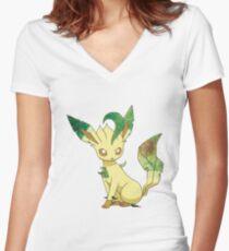 Pokemon- Leafeon Women's Fitted V-Neck T-Shirt