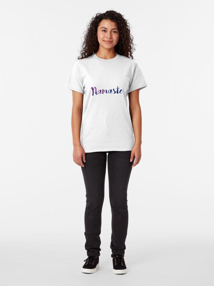 Alternate view of Namaste sticker: dark purple and blue cursive Classic T-Shirt
