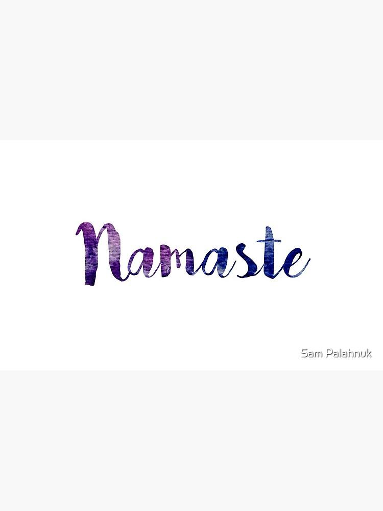 Namaste sticker: dark purple and blue cursive by sampalahnukart