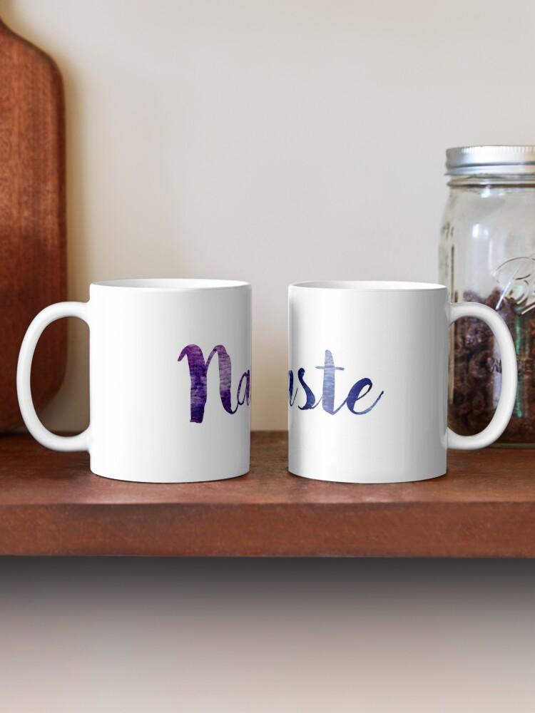 Alternate view of Namaste sticker: dark purple and blue cursive Mug