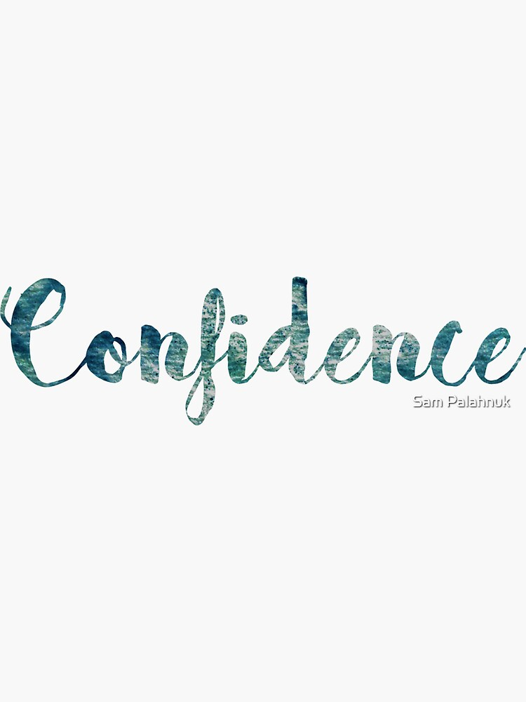 Confidence Sticker: green and blue watercolor cursive by sampalahnukart