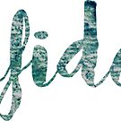 Confidence Sticker: green and blue watercolor cursive by Sam Palahnuk