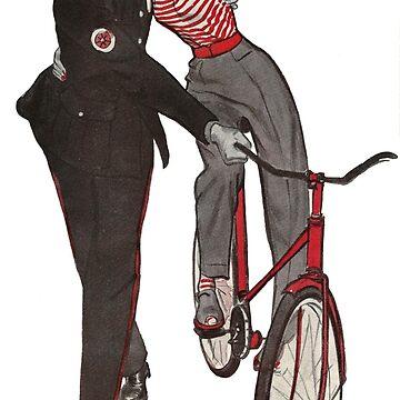 Vintage Blonde on Bike w/ Uniformed Police Officer by PrintFromVintage