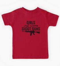 Girls Just Wanna Shoot Guns Silhouette Shirt Design Dark Kids Clothes