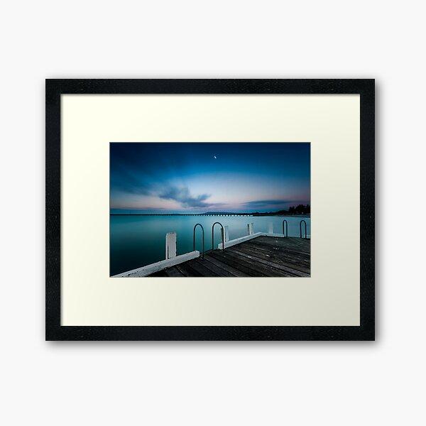 Pink twilight over Rye Pier Framed Art Print