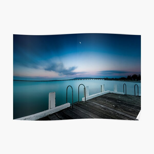 Pink twilight over Rye Pier Poster