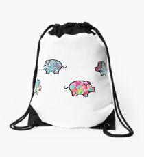 Cute Patterned, Walking Piglets Pack of 4 Drawstring Bag