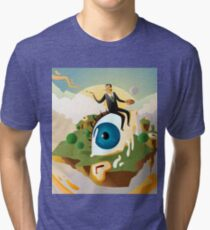 great surrealism painter on big floating eye in island with clocks Tri-blend T-Shirt