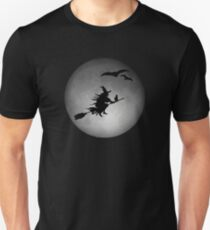 Evil Witch Flying On A Broom During A Full Moon Unisex T-Shirt