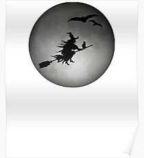 Evil Witch Flying On A Broom During A Full Moon Poster