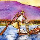 Lake Burma Fisherman Dawn by Randy Sprout