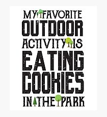 Favorite Outdoor Activity - Eating Cookies At The Park - Funny Dessert  Photographic Print