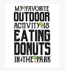 Favorite Outdoor Activity - Eating Donut At The Park - Funny Food Dessert  Photographic Print