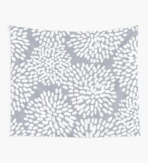 Grey and White Abstract Firework Flowers Wall Tapestry