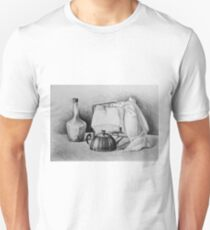 Drawing illustration of still life with drape, glass bottle and kettle T-Shirt