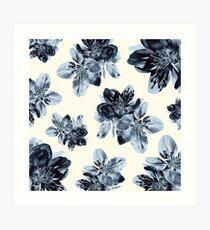 Cornflower Blue Blossom Pattern Art Print