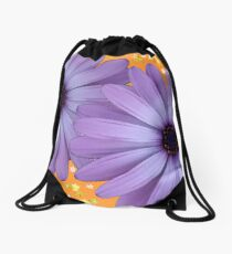 Purple Daisy with Orange Drawstring Bag