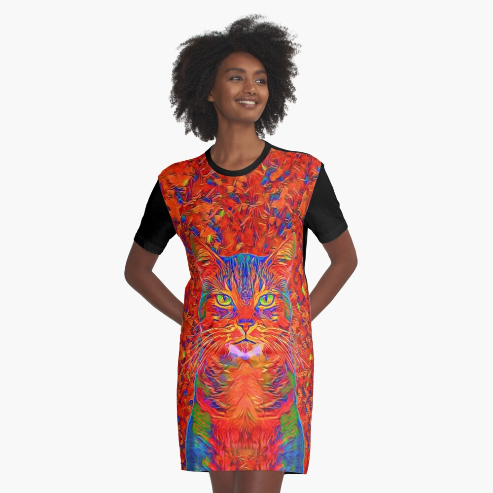 Red Cat Graphic T-Shirt Dress