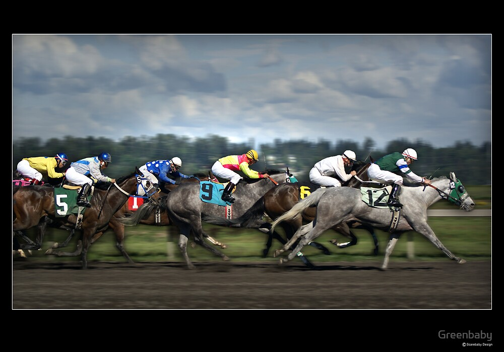 Horses Racing Under Stormy Skies by Greenbaby