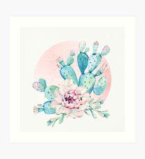 Pretty Cactus Mint Green Pink and Rosegold Desert Cacti Wall Art Art Print