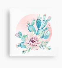 Pretty Cactus Mint Green Pink and Rosegold Desert Cacti Wall Art Canvas Print