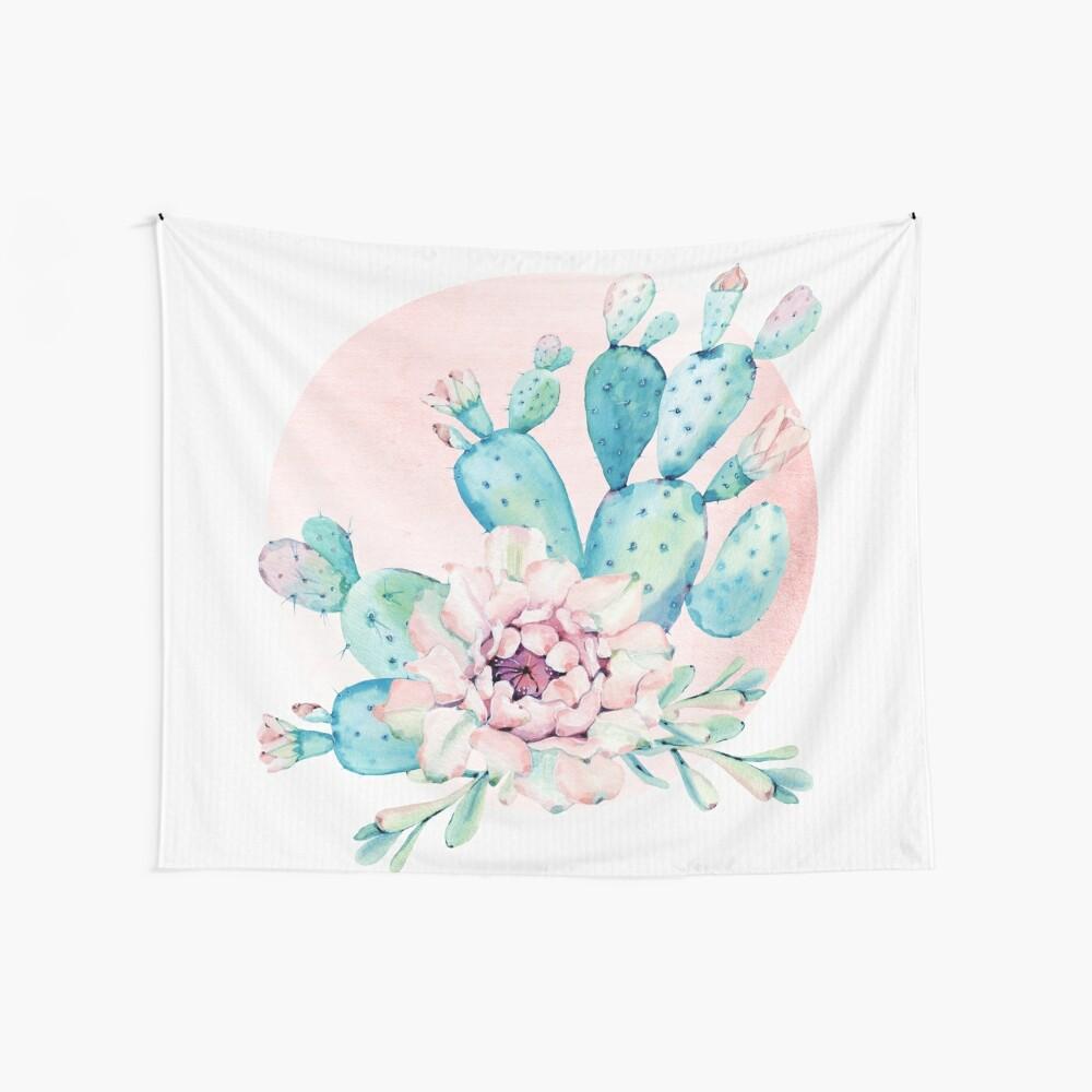 Hübscher Kaktus-Minzen-Grün-Rosa und Rosegold Wüsten-Kakteen-Wand-Kunst Wandbehang