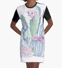Trendy Kaktus Pink und Mint Green Desert Kakteen Design T-Shirt Kleid