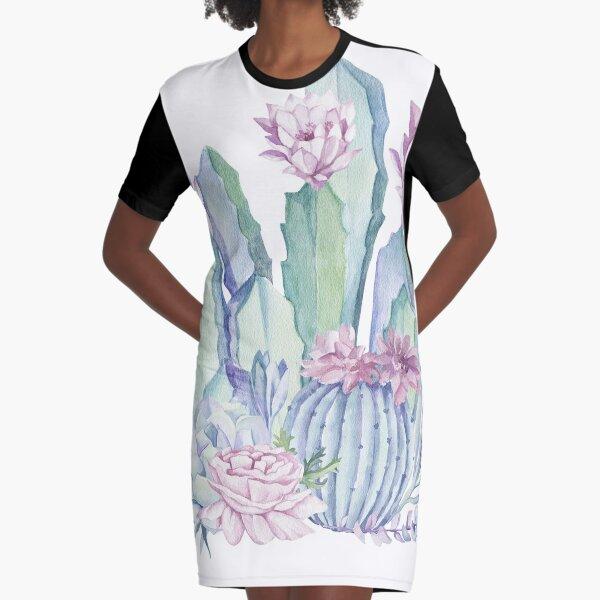 Trendy Cactus Pink and Mint Green Desert Cacti Design Graphic T-Shirt Dress