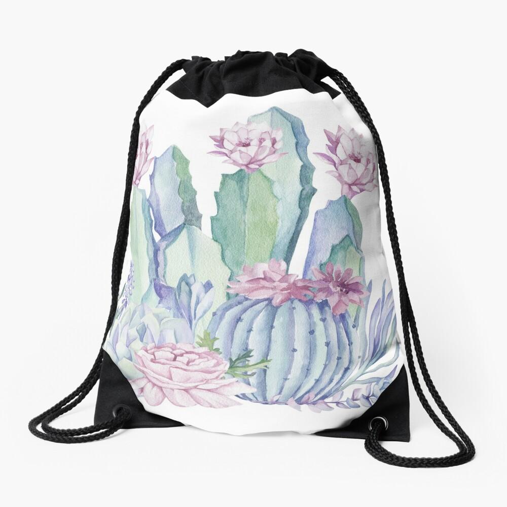 Trendy Cactus Pink and Mint Green Desert Cacti Design Drawstring Bag