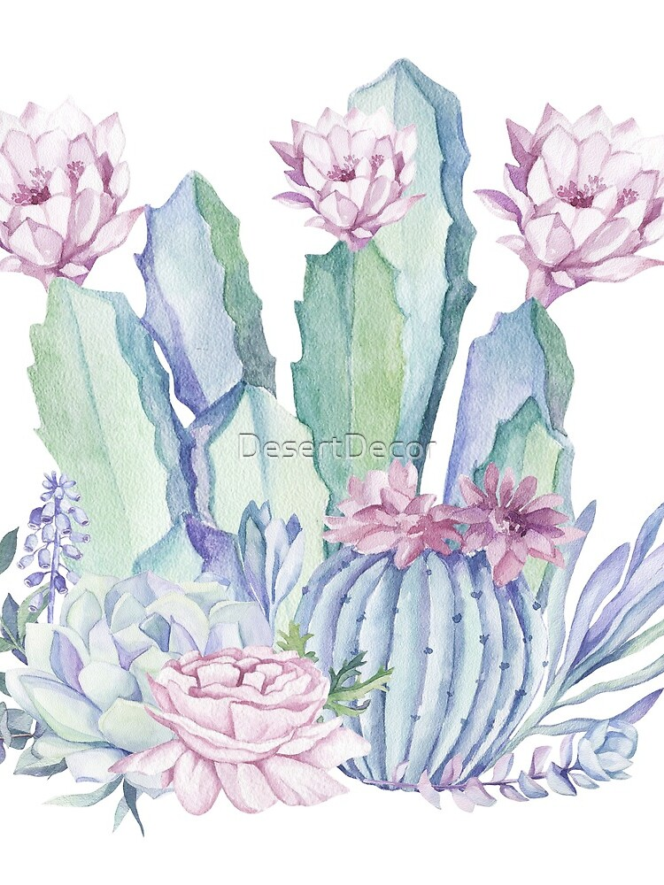 Trendy Cactus Pink and Mint Green Desert Cacti Design by DesertDecor