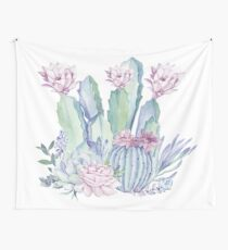 Trendy Cactus Pink and Mint Green Desert Cacti Design Wall Tapestry