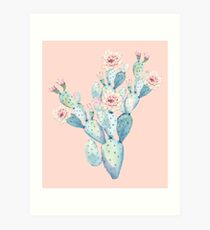 Pretty Cactus Pink and Mint Green Desert Cacti Home Decor Art Print