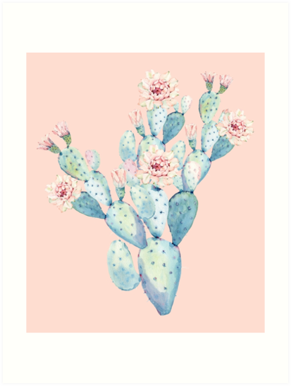 Hübscher Kaktus Pink und Mint Green Desert Kakteen Home Decor von DesertDecor
