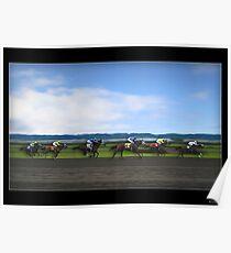 Race Horses Under Blue Skies Poster
