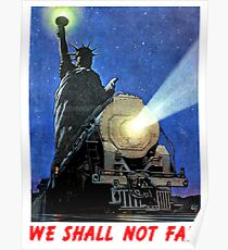 New York, night, statue of liberty, steam train, vintage travel poster Poster