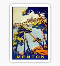 Menton, French riviera, France, vintage travel poster Sticker
