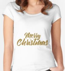 Merry Christmas Modern typography gold tones Women's Fitted Scoop T-Shirt